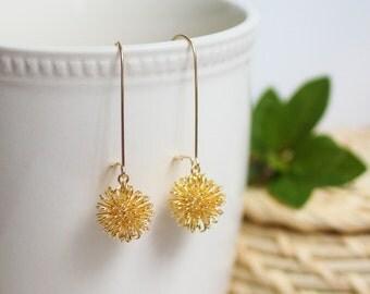 gold dangle earrings, dandelion earrings, gold drop earrings, gold wire earrings, wire ball earrings, gold wire ball earrings