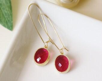 fuchsia earrings, drop earrings, fuchsia and gold earrings, fuchsia wedding, modern earrings