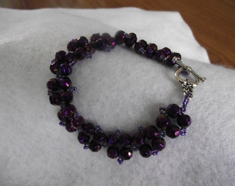 Purple Faceted Crystal and Seed Bead Bracelet