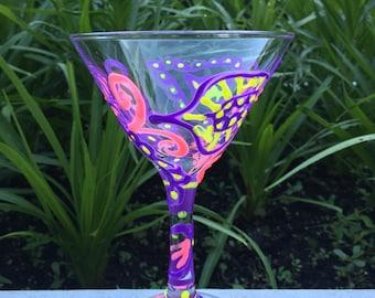 Hand Painted Margarita Glass