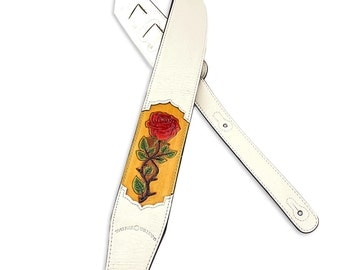 White Leather Guitar Strap Hand Tooled Red Rose Design CVG-51