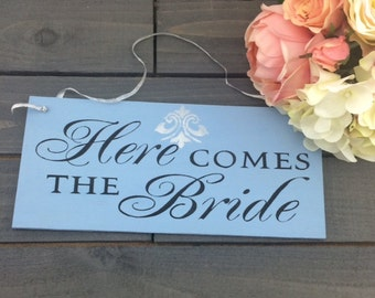 Here Comes The Bride Sign-Wedding Sign-Rustic Wedding Sign-Boho Chic Sign