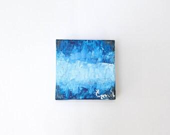 Original Art-- Palette Knife Painting -- Blue -- Acrylic