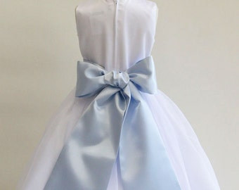 Designer US Angels- LIGHT BLUE   Satin Tapered Flower Girl Dress Sash