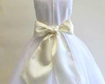 Buy 1 Get 1 Free Designer US Angels- IVORY  Satin Tapered Flower Girl Dress Sash