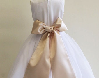 Buy 1 Get 1 Free Designer US Angels- CHAMPAGNE Satin Tapered Flower Girl Dress Sash