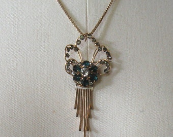 Striking Vintage 1940's MARKS & SPENCER 12K GF Pendant/Pin w/Rhinestones on Chain