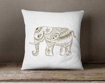 Elephant Throw pillow, indian accent pillow case meditation cushion cultural decorative pillow animal pillow mandala lovers home decor P213