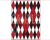 Harlequin Backdrop Photo Booth 30x36 Selfie Station Red White Black Diamonds Printable Comic Book Super Hero Argyle Style Party Decoration