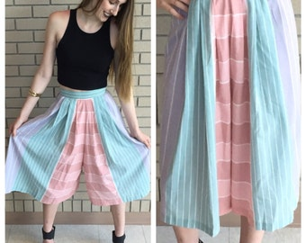 Vintage 70's Pink Blue Purple Striped Culottes Size XS