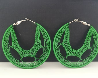 "Crochet hoops 2 1/4"" in green"