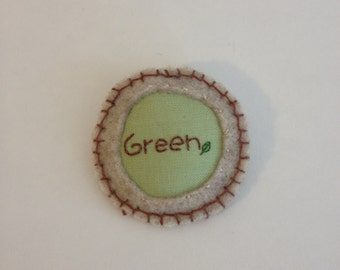 Green Pinback Badge