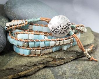 Chan Luu style wrap bracelet, handmade 5-wrap bracelet, Amazonite and silver cube bracelet