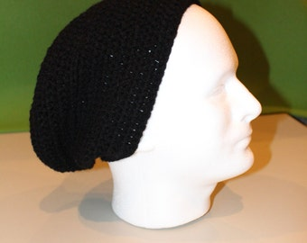 Crochet Slouch Hat: Black