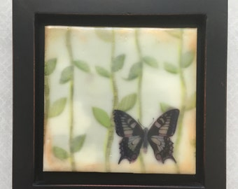 Butterfly in the forest. Encaustic beeswax painting, original painting