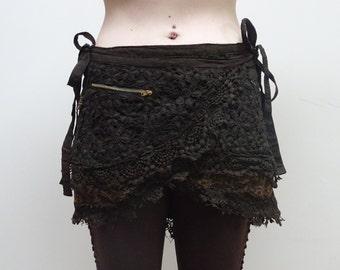 Brown crochet layered mini skirt
