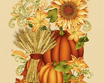 8516P-44 CREAM WELCOME HARVEST Panel - Pumpkins 100% Cotton Quilt Shop Fabric From Henry Glass Fabrics By Color Principle