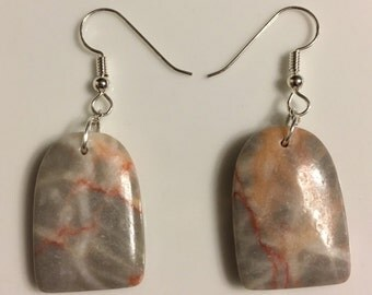 Sterling Silver and Slab Red Line Marble Earrings