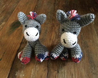 Red White and Blue Stuffed Donkey