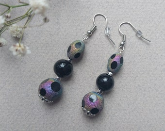 Earrings black and iridescent beads