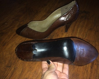 Brown leather snake heels size 10