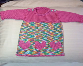 Pink heart hand knit baby dress