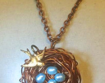 freshwater pearl, robin egg, copper wire necklace