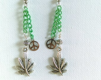 Cannabis earrings with green chain