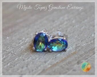 Mystic Topaz Earrings,Blue Mystic Topaz Studs,Topaz Stud Earrings,Gemstone Studs,Stone Earrings,Sterling Silver Stud earrings,Rainbow topaz