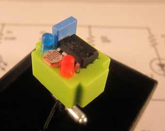 Electronic component steampunk cufflinks (lime green breadboard)