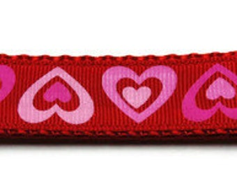 Medium Red/Pink Hearts Dog Collar