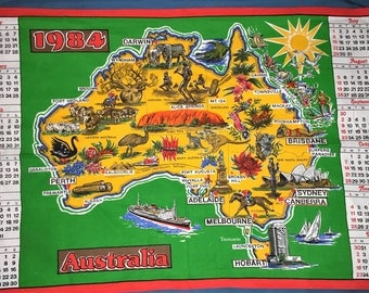 Vintage 1984 Calendar Australian Tea Towel / Kitsch Australian Tea Towel / Iconic Australian Tea Towel / Bright Tea Towel