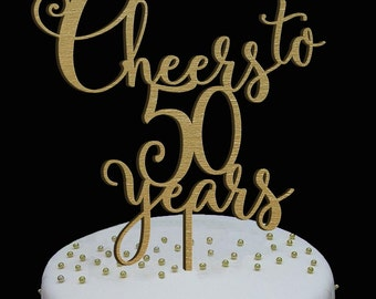 Birthday topper, CHEERS TO 50 YEARS , Birthday Cake Decor, Anniversary Happy Bithday Cake Topper