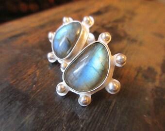 Labradorite Earrings - labradorite, handmade sterling silver earrings
