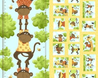 "Susybee Fabric, Grow Chart Panel : Monkey business - Oolie Monkey Growth Chart panel  100% cotton fabric by the Panel 30""x43"" (SB38)"