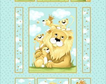 "Susybee Fabric Panel : Lyon, the Lion fabric - Lion and pubs quilt top panel 100% cotton fabric by the Panel 36""x43"" (A61)"