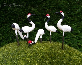 5 Tiny Sarus crane Picks Miniature Dollhouse Fairy Garden /Set