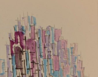 Watercolor abstract cityscape small painting