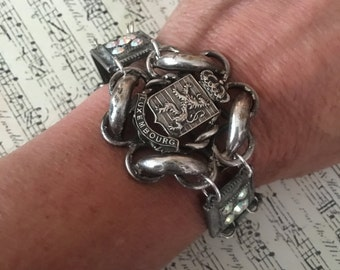 The Luxenbourg bracelet, vintage assemblage, brooch, AB crystals, European, souvenir,