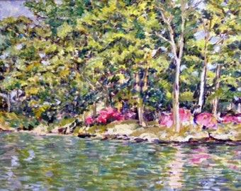 "From the Boat on Lake Bradford, 22""x28' Original Impressionist Landscape Painting by K.K. Feild"