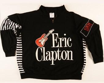 1991 Eric Clapton Royal Albert Hall 1/2 zip crew neck Long Sleeve sweatshirt jacket. Size L-XL, Very good to excellent condition