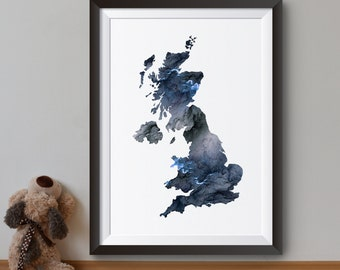 United Kingdom Print - Art Poster - Map Illustration - Wall Art - Home Decor