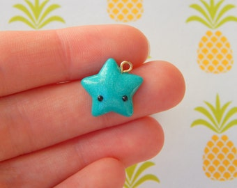 Teal Pearl Star- Polymer Clay Charm, Polymer Clay Jewelry, Charm, Cute, Kawaii