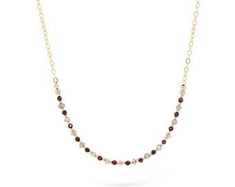 Garnet & Labradorite gemstone necklace, gold necklace.