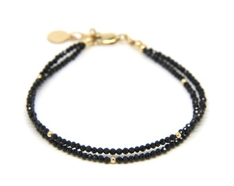 Black Spinel bracelet, double strand gemstone bracelet.