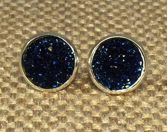 Navy Blue Druzy Earrings - Drusy Earrings - Druzy Earrings - Bridesmaid Gift - Nautical Wedding - Beach Wedding - Nautical Earrings - Boho