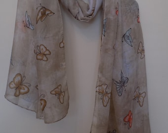 Butterfly Scarves, Long Scarf, Summer Scarf, Fashion Scarf, Women Scarf, Gift for her