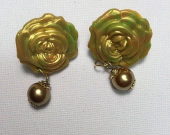 Gold with multiple colours earrings