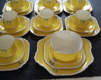 25 Piece Tea Set Vintage Art Deco Heathcote