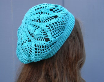 Slouchy Beanie Hat Summer beret Cotton beach hat sun crochet beret blue women hat french crocheted gift for mom summer accessories